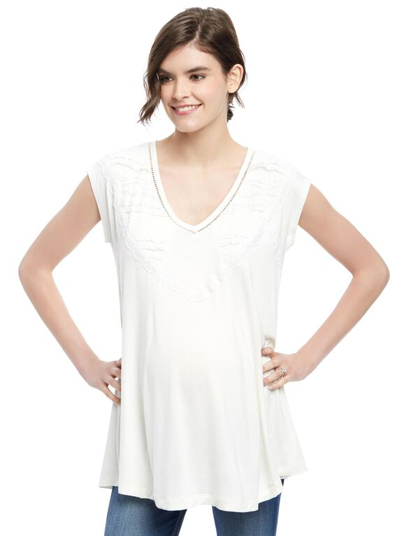 Wendy Bellissimo Lace Trim Maternity Top, White