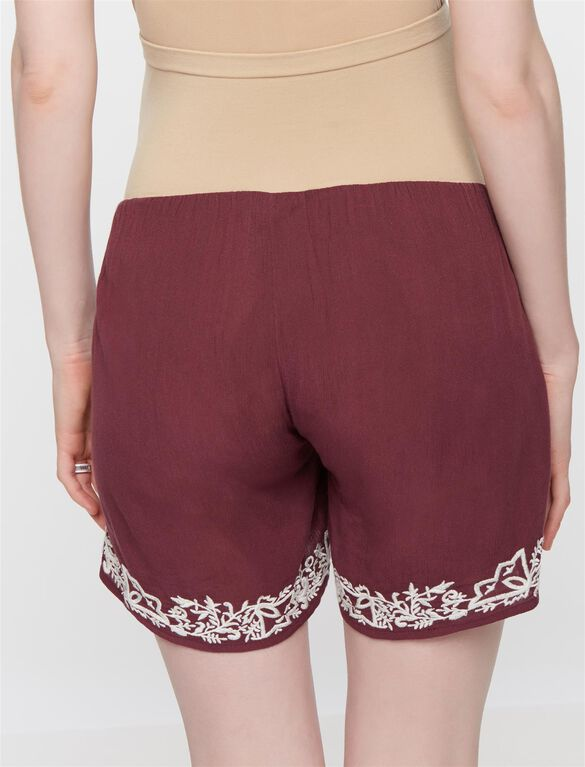 Secret Fit Belly Embroidered Hem Maternity Shorts, Dusty Plum