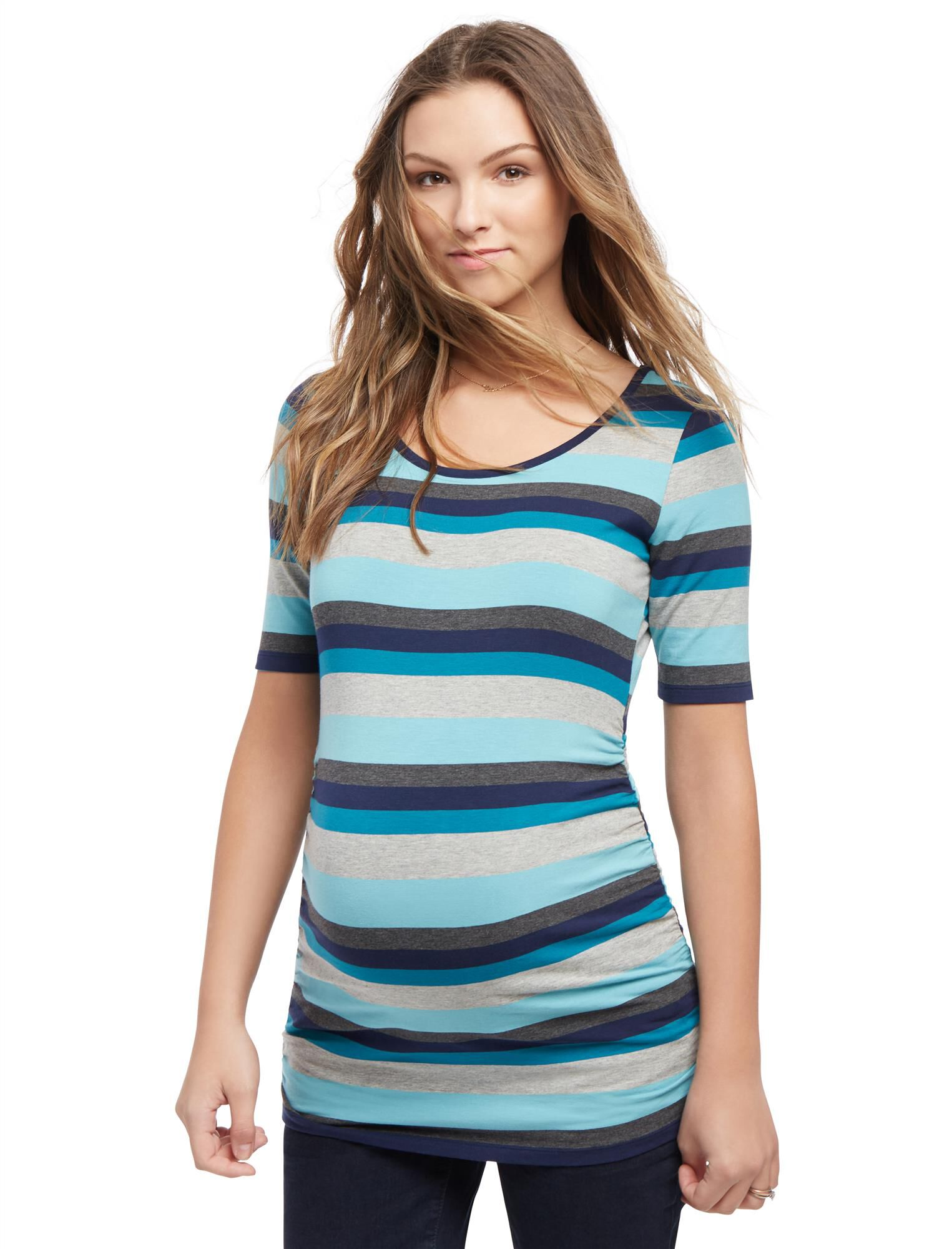 Elbow Sleeve Side Ruched Maternity Tee- Stripe