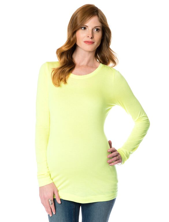 Long Sleeve Maternity T Shirt, Lime