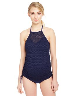 Crochet Halter Maternity Tankini Swimsuit, Navy