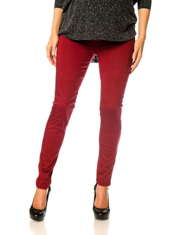 Secret Fit Belly Skinny Leg Maternity Jeans, Cinnabar Red