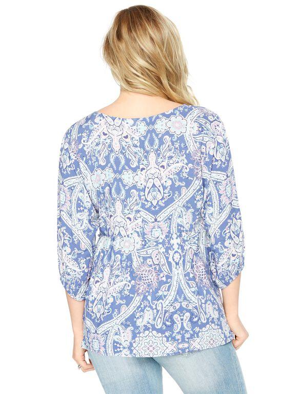 Blue Floral Maternity Blouse, Blue Floral
