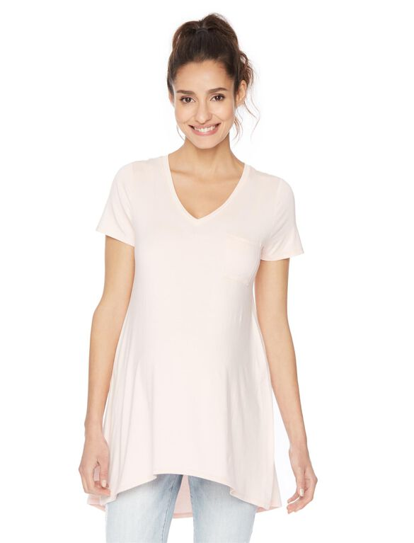 High Low Pocket Maternity Tee, English Rose