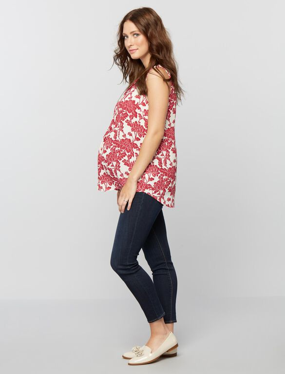 Daniel Rainn Pleated Maternity Blouse- Burgundy Floral, Burgundy