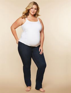 Jessica Simpson Plus Size Side Panel Boot Cut Maternity Jeans, DARK WASH