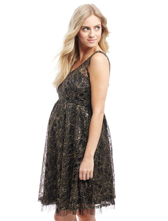 Metallic Lace Maternity Dress, Black/Gold