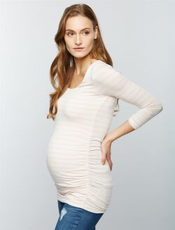 Scoop Neck Side Ruched Knit Maternity Tee- Stripe, Pink/White Stripe