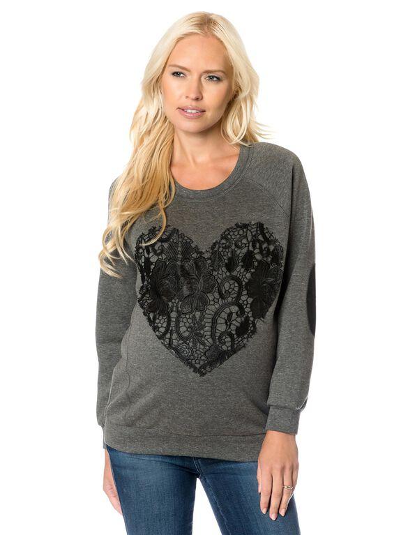 Lace Maternity Sweatshirt, Grey