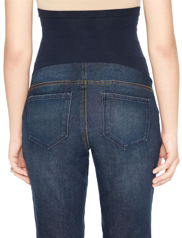 Indigo Blue Long Secret Fit Belly Straight Leg Maternity Jeans, Medium Wash