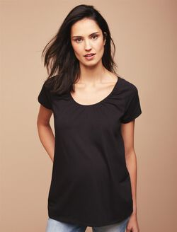 Web Only Pull Down Raglan Sleeve Nursing Tee, Black