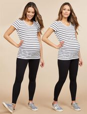 Bumpstart Under Belly Maternity Leggings- Solid, Black And Black