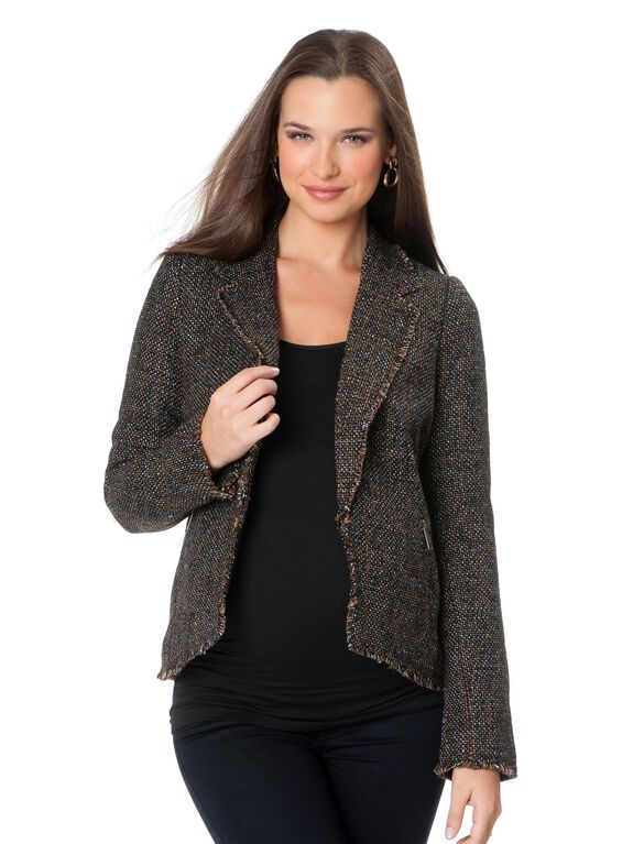 Zipper Detail Maternity Jacket, Brown Tweed