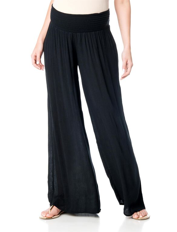 Pull On Style Gauze Wide Leg Maternity Pants, Black