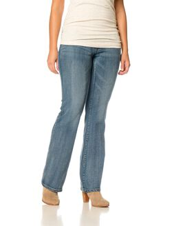 Indigo Blue Shaper Tummy Panel Boot Cut Post Pregnancy Pants, Coastal Blue