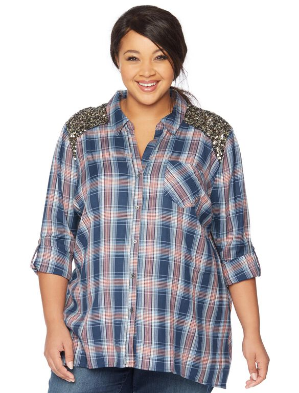 Wendy Bellissimo Plus Size Sequin Maternity Top, Blue/Red Plaid