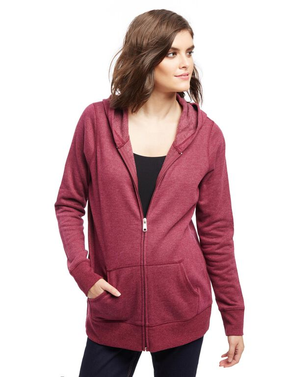 Kangaroo Pocket Maternity Hoodie, Blackberry Wine