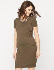 Short Sleeve Jersey Knit Maternity Dress, Olive