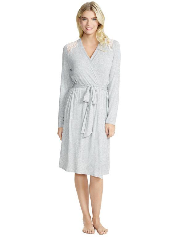 Jessica Simpson Lace Trim Maternity Robe- Pink, Heather Grey