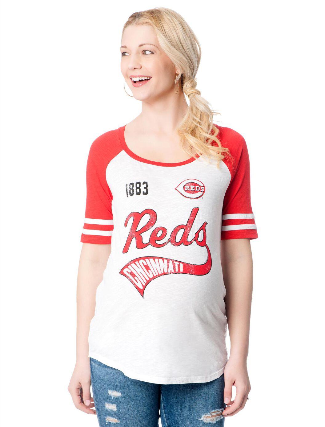 Cincinnati Reds MLB Raglan Elbow Sleeve Maternity Graphic Tee at Motherhood Maternity in Victor, NY | Tuggl