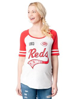 Cincinnati Reds MLB Raglan Elbow Sleeve Maternity Graphic Tee, Reds