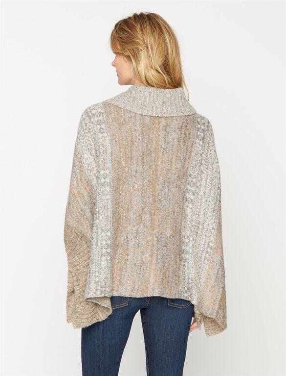 Splendid Poncho Maternity Sweater, Warm Sand Multi