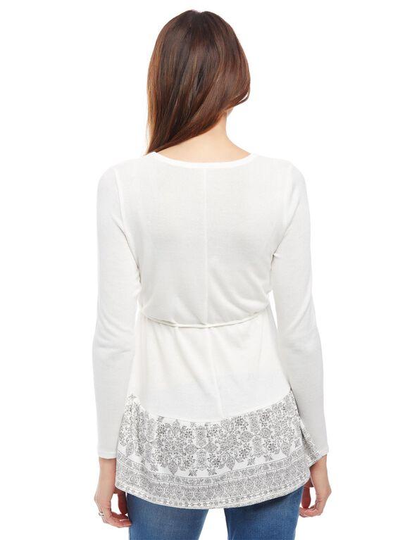 Babydoll Maternity Shirt, Egret/Grey