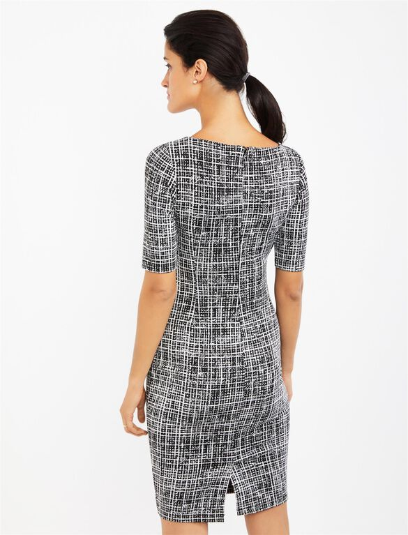 Bodycon Maternity Sheath Dress- Black/White Print, Black/White Print