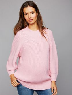Central Park West Mock Neck Maternity Sweater, Pink