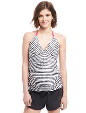 Halter Tankini Maternity Swim Top, Black/White Stripe