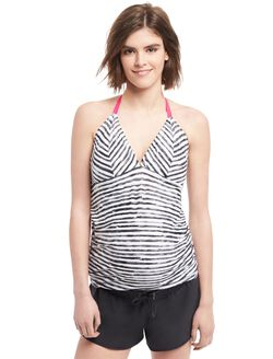 Halter Tankini Maternity Swim Top, Black/White Stripe