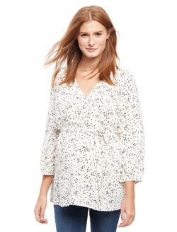 Button Detail Maternity Blouse- Wish Print, Wish Print