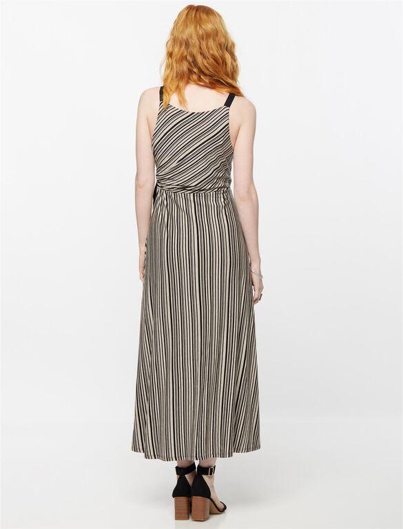 Side Tie Maternity Dress, Multi Stripe