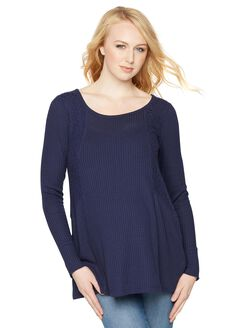 Lace Trim Maternity Tunic, Midnight