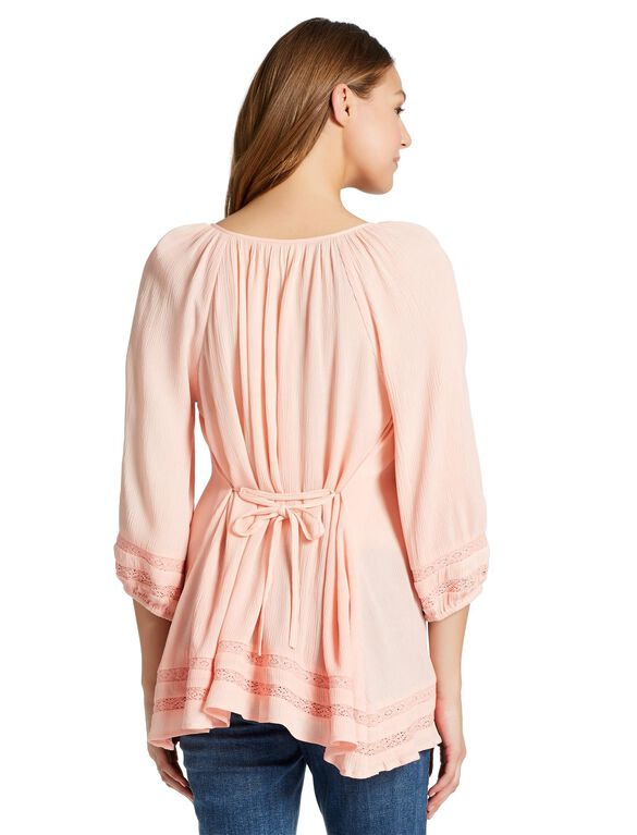 Jessica Simpson Lace Trim Maternity Blouse, Peach Bud