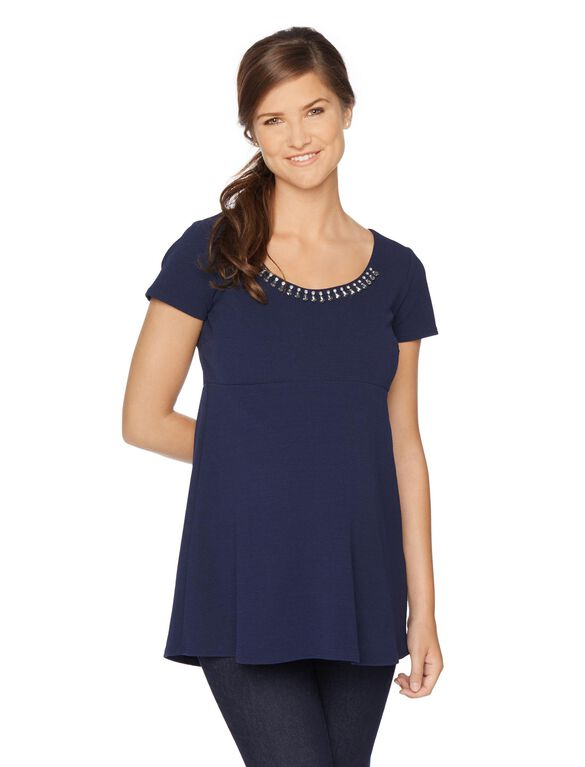 A-line Maternity Shirt, Navy