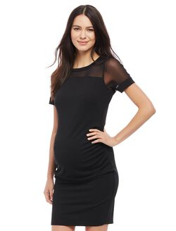 Mesh Detail Ruched Maternity Dress, Black