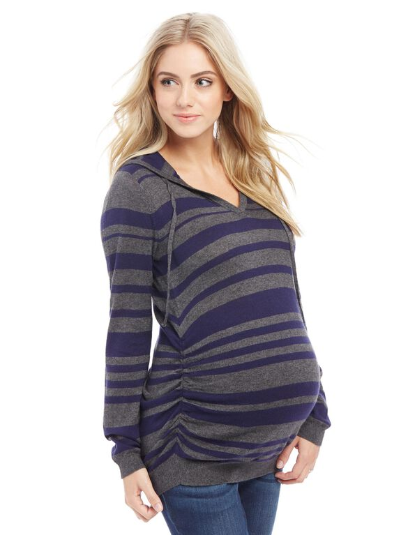Side Ruched Maternity Hoodie, Charcoal/Navy