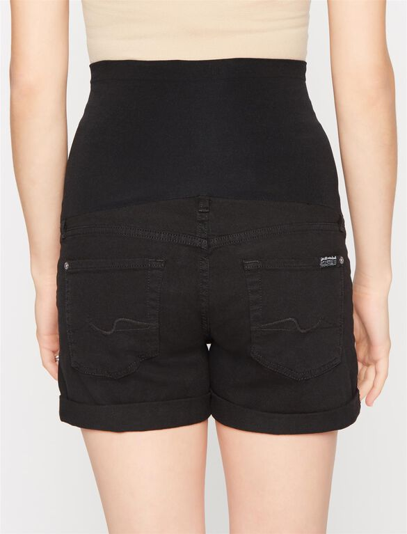 7 For Mankind Secret Fit Belly 5 Pocket Maternity Shorts, Black