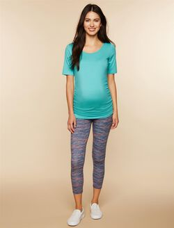 Secret Fit Belly Printed Maternity Crop Leggings- Multi Stripe, Multi Stripe