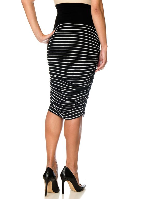 Splendid Secret Fit Belly Ruched Maternity Skirt, Black&white Striped