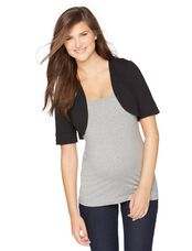 Open Front Ponte Maternity Shrug, Black