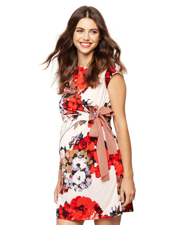 Taylor Side Tie Maternity Dress- Floral, Floral Print
