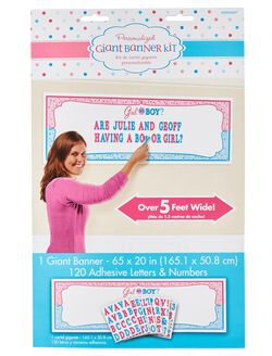 Personalized Girl or Boy Gender Reveal Banner Kit, Pink/Blue
