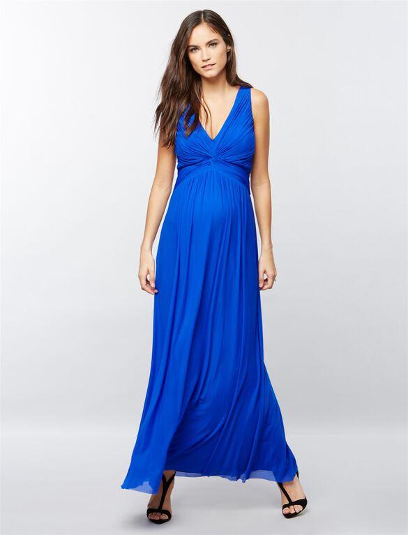 Knot Front Maternity Maxi Dress, Cobalt