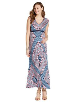 Jessica Simpson Tie Detail Maternity Maxi Dress, Coral/Navy Print