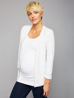 Open Front Maternity Jacket, Blue Stripe