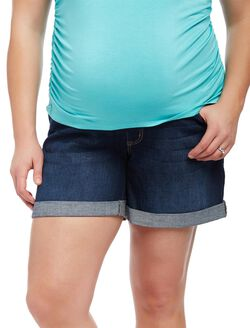 Plus Size Secret Fit Belly Roll Hem Maternity Shorts, Dark Wash