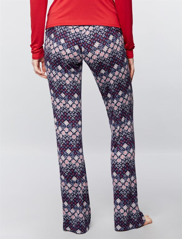Bow Detail Maternity Sleep Pants- Prints, Fairisle Print