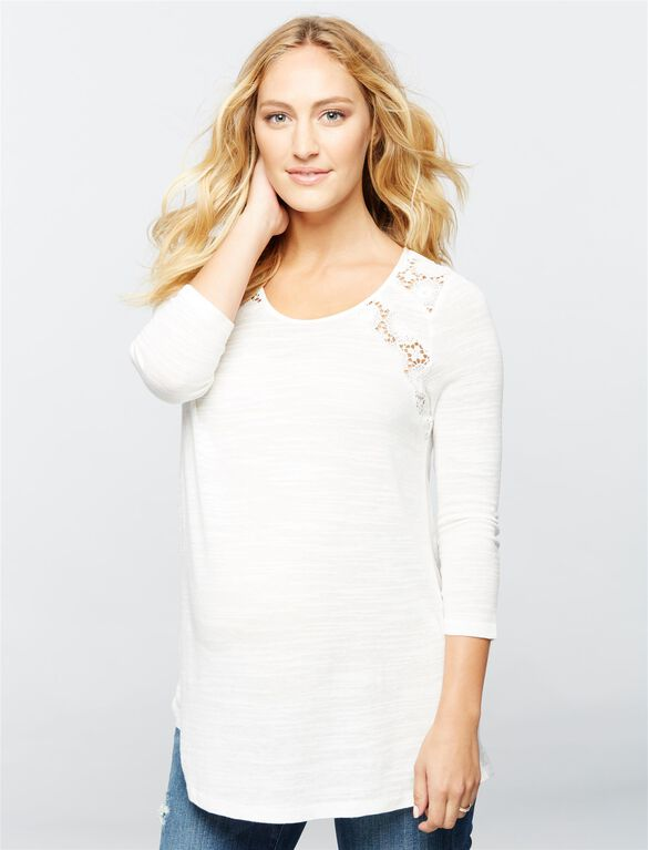 Luxe Essentials Denim Lace Maternity Top, Soft White